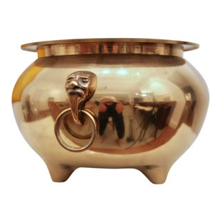 Brass Cachepot Planter With Face Figure Rings For Sale