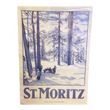 Image of 1980s Swiss Mountain Travel Poster St. Moritz Reprint of a 1917 Emil Cardinaux Painting For Sale