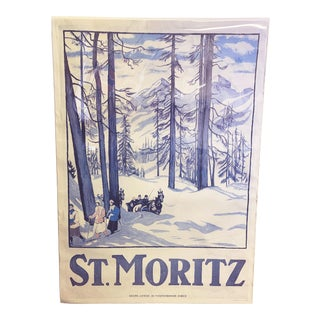 1980s Swiss Mountain Travel Poster St. Moritz Reprint of a 1917 Emil Cardinaux Painting For Sale
