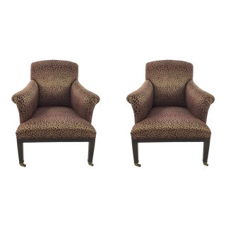 Modern Leopard Print Lounge Chairs Pair For Sale