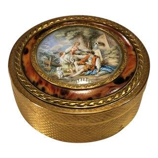 Louis XVI Style Gilt Bronze Box With Miniature Hand-Painted Marquise De Sevignè France For Sale