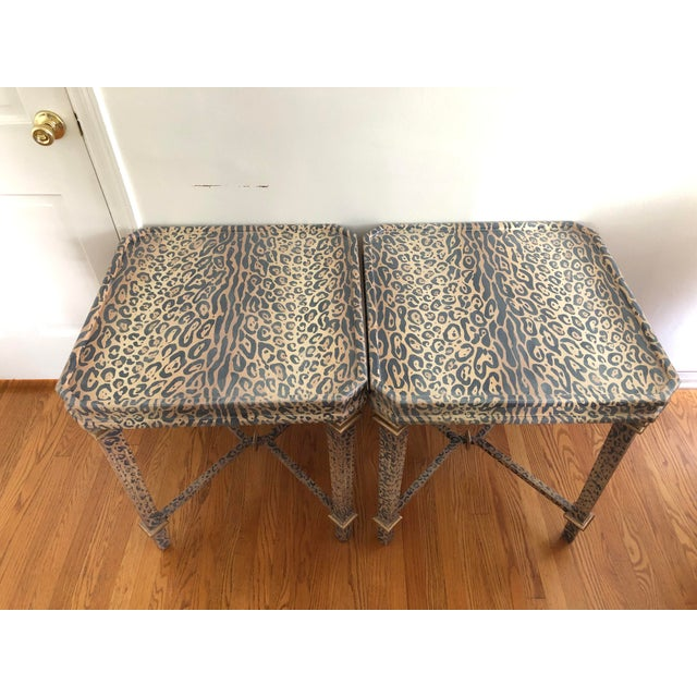 Neoclassical Hand Painted Faux Leopard Side Tables - a Pair For Sale - Image 10 of 10