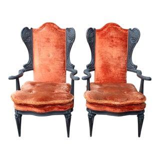 1960s Hollywood Regency Orange Velvet Wing Chairs - a Pair