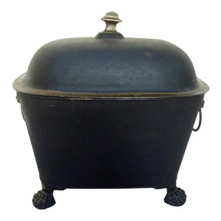 Antique Black and Gold Painted Coal Scuttle For Sale