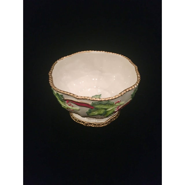American Vintage Late 20th Century Fitz and Floyd Christmas Dish With Holly Berries For Sale - Image 3 of 10