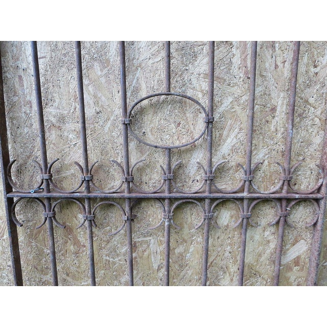 Antique Victorian Iron Gate Window Garden Fence Architectural Salvage Door For Sale - Image 7 of 11