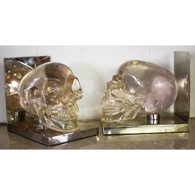 French 70's Lucite Skull Bookends For Sale - Image 5 of 7