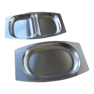 Danish Modern Stainless Serving Trays - A Pair For Sale