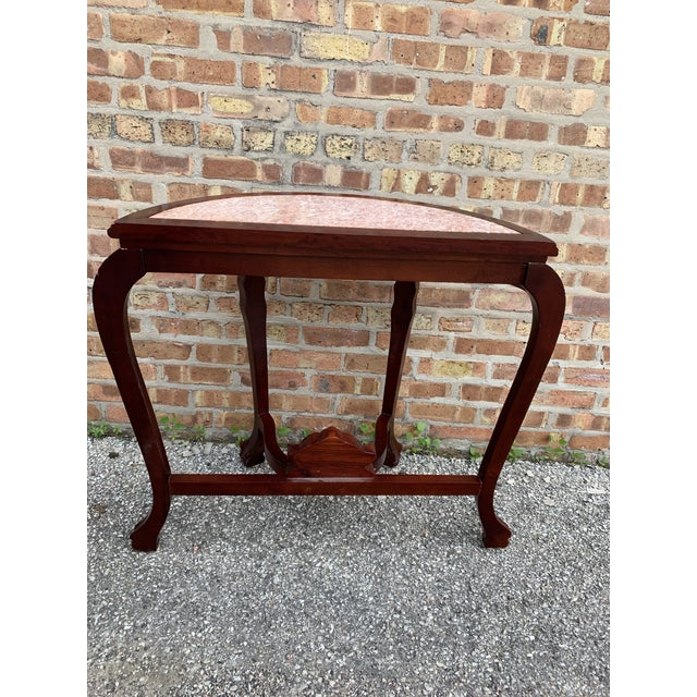 Brown 20th Century Traditional Marble Top and Carved Mahogany Demilune Table For Sale - Image 8 of 13