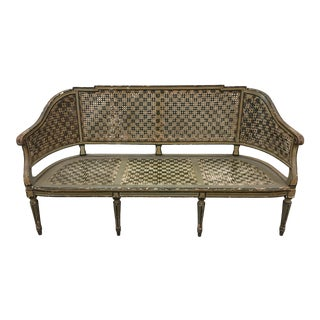 Italian Painted Cane Sofa Bench - 19th C For Sale
