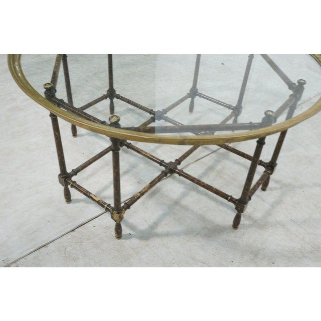 Baker Brass & Glass Tray Top Faux Wood Bamboo Coffee Table, Circa 1960 - Image 8 of 9