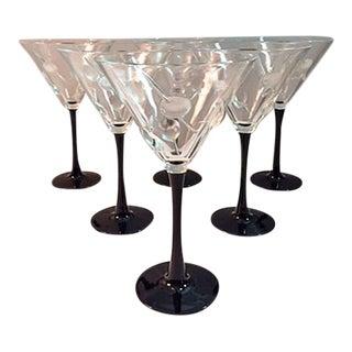Martini Glasses W/Raised Olive Design & Black Stems - Set of 6