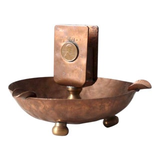 Antique Copper Match Holder Ashtray For Sale