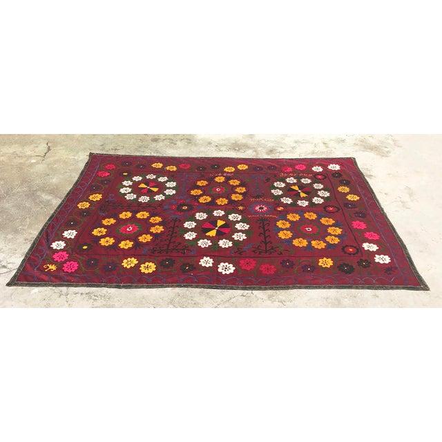 Dark Red Suzani Blanket - Image 3 of 6