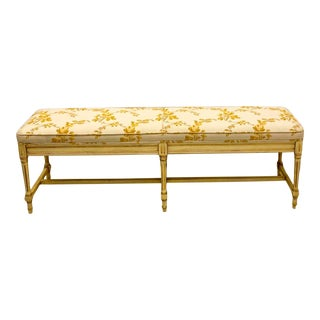 Midcentury French Claude Moulin Floral Upholstered Bench / Ottoman