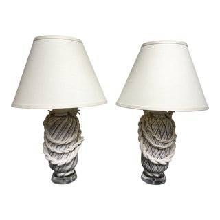1980s Roy Hamilton Rope Ceramic Table Lamps - a Pair For Sale