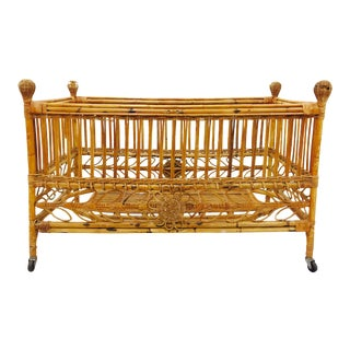 Antique Rattan & Bamboo Crib