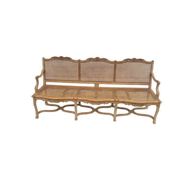 Country Antique French Caned Three Seat Louis XV Style Settee French Provincial Long Caned Canape For Sale - Image 3 of 13