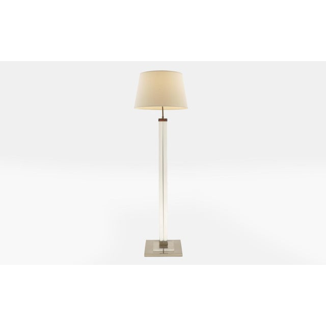 Original Charles Hollis Jones Lucite floor lamp. Lamp base is 14 inches square. Lamp shade at the widest is 19.5 inches.