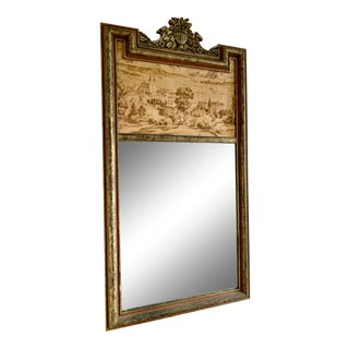 19th Century Trumeau Antique Gilt Mirror With Painting on Canvas For Sale