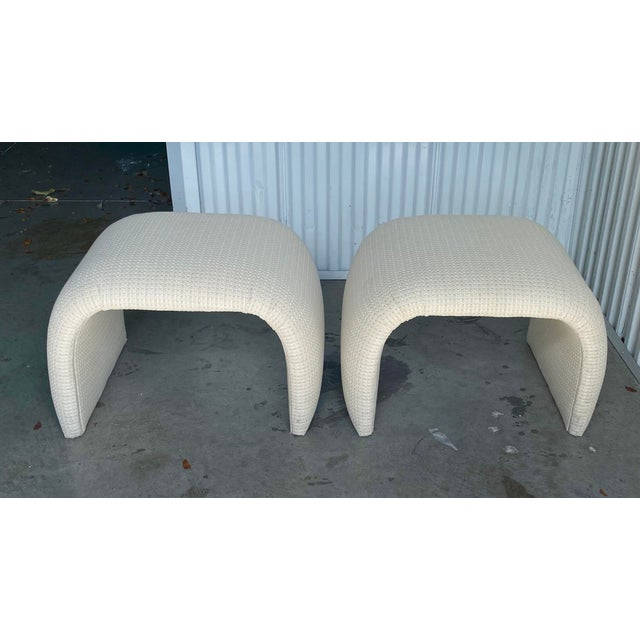 Contemporary Vintage Contemporary Upholstered Waterfall Benches - a Pair For Sale - Image 3 of 7