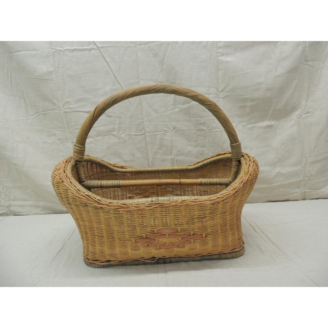 Vintage Wicker Magazine Rack With Handles For Sale In Miami - Image 6 of 6