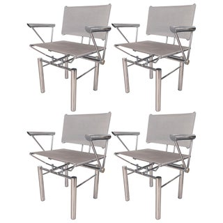 Architectural Polished Steel Armchairs by Hans Ulirch Bitsch for Kush Co For Sale