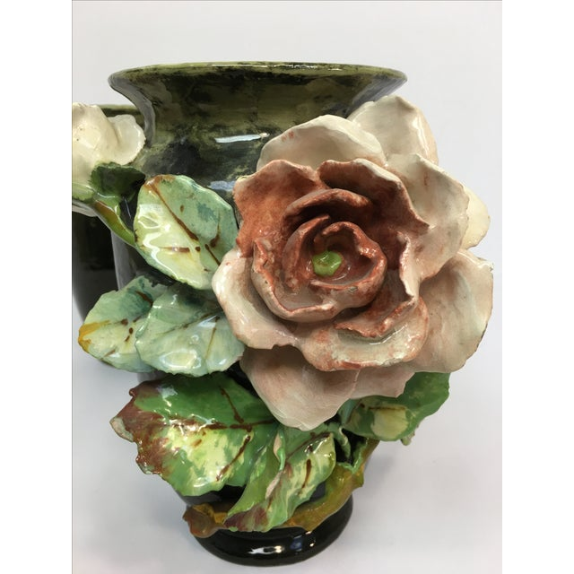 French Barbotine Applied Roses Flower Vases - Pair - Image 6 of 11