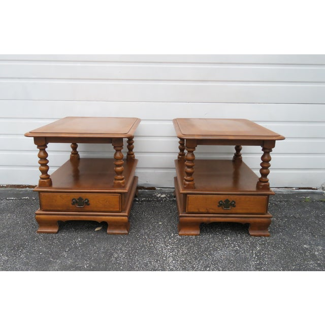 Ethan Allen Solid Maple Pair of Nightstands Side End Tables For Sale - Image 13 of 13