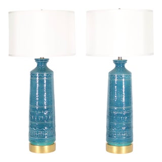 1950s Italian Hollywood Regency Bittossi Style Lamps in Blue & Aqua Glazed Ceramic - a Pair For Sale