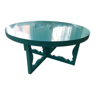 Mid-Century Modern Dorothy Draper Turquoise Blue Round Cocktail Table For Sale