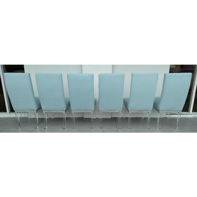 Mid-Century Modern Charles Hollis Jones 1970's Lucite Legged High-Back Dining Chairs - Set of 6, Mid-Century Modern For Sale - Image 3 of 13