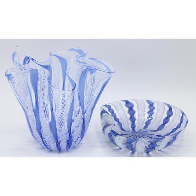 Mid Century Italian Murano Glass Blue Latticino Large Handkerchief Vase and Murano Zanfirico Latticino Glass Dish - Set of 2 For Sale - Image 9 of 10
