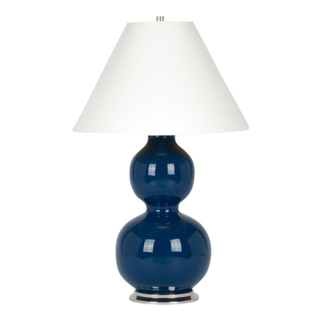 Natalie Lamp in Midnight Blue / Polished Nickel - Christopher Spitzmiller for The Lacquer Company For Sale