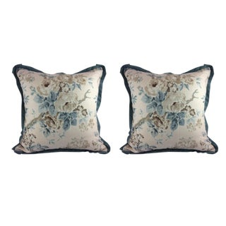 "Lee Jofa ""Garden Roses"" in Aqua & Beige Pillows - a Pair For Sale"