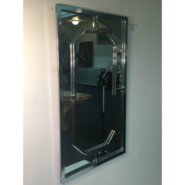 Silver Modern Chrome Rectangular Mirror With Octagonal Center For Sale - Image 8 of 9