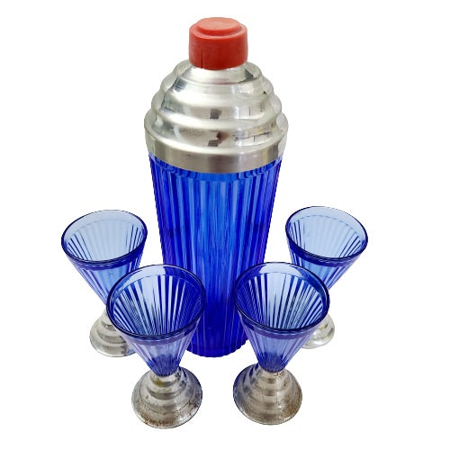 1920s Art Deco Cobalt Blue Cocktail Shaker & Glasses With Chrome Bases - 5 Pieces For Sale - Image 4 of 13
