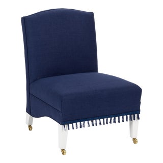Casa Cosima Sintra Chair in Cadet Blue Linen For Sale