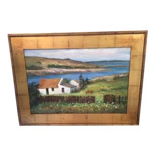 Contemporary Coastal Farm Landscape Oil Painting by Alexsandr Stravin, Framed For Sale