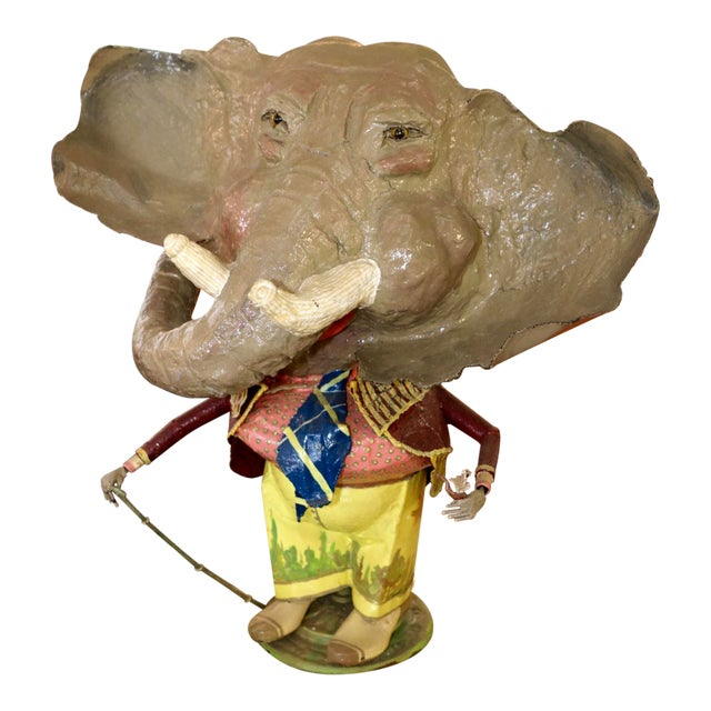 Elephant With a Cane Sculpture Signed and Dated 1984 For Sale