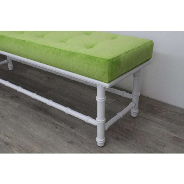 Textile Mid-Century Palm Beach Style Bench For Sale - Image 7 of 9