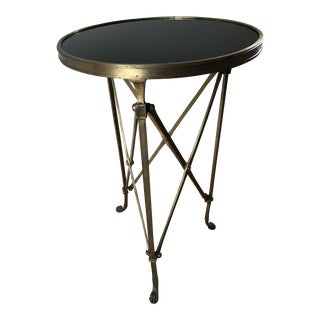Brass & Black Marble Directoire Side Table