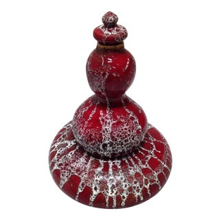 Vintage Mid-Century Studio Pottery Genie Bottle Decanter White Lava Glaze on Red Ox-Blood Glaze, Handmade Sculpture For Sale
