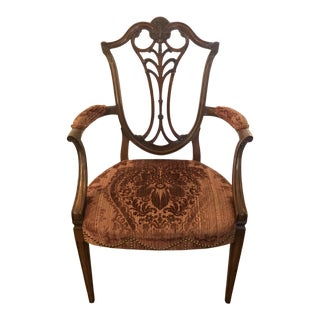 Karges Armchair With Cut Velvet Upholstery For Sale