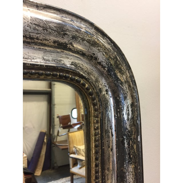 French Late 19th Century Silver Leaf Louis Philippe Mirror For Sale - Image 3 of 7