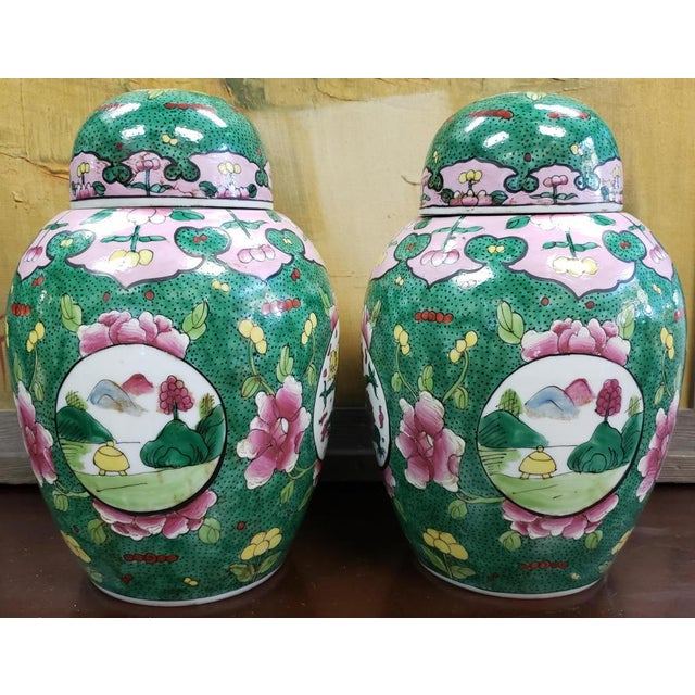 Up for sale is a Pair of Circa 1880 Chinese Famille Verte Porcelain Enameled Floral/Dragon Motif Ginger Jars! They each...
