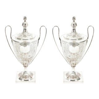 English Plated Trophy Cup / Covered Urns - a Pair For Sale
