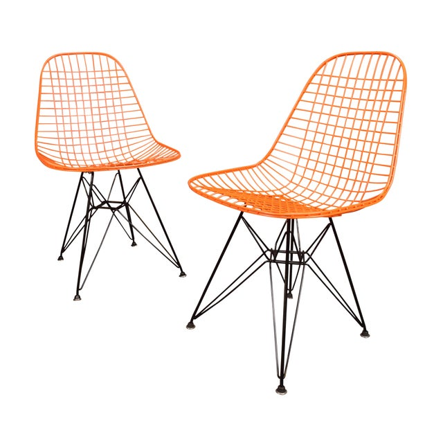 Vintage Herman Miller for Eamer Mid-Century Dkr Orange Chairs - Image 11 of 11