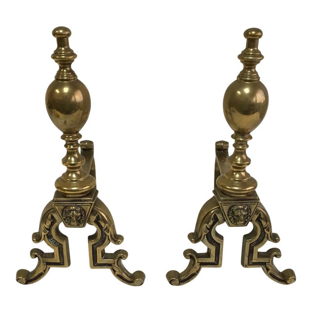 English Brass Lion Andirons - A Pair - Image 1 of 6