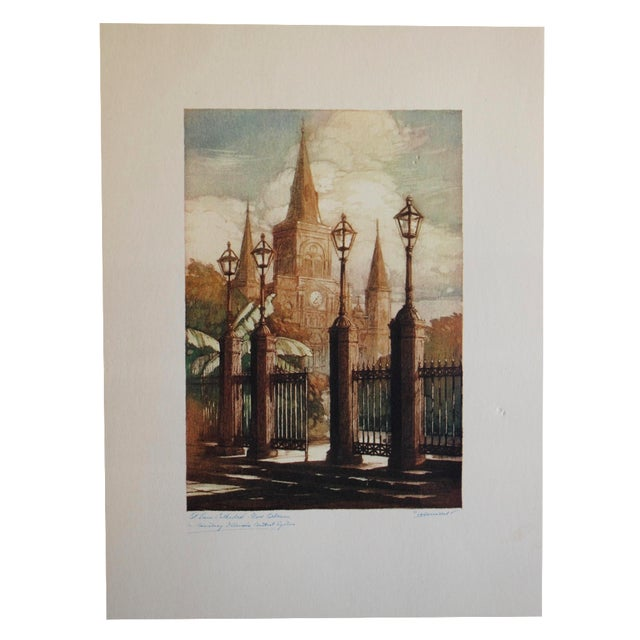 1940s New Orleans Print, St. Louis Cathedral - Image 1 of 7